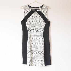 H&M Divided Black White Aztec Tribal Print Dress